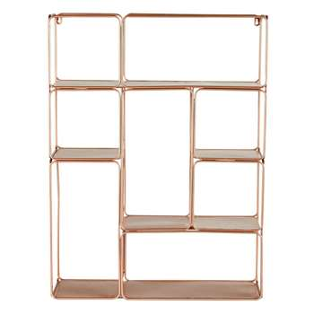 MADELINE Copper-Colour Metal Wall-Mount Shelving Unit (80 x 59cm)