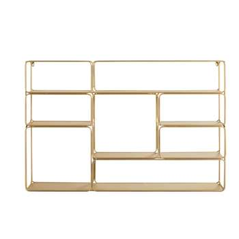 MADELINE Gold Metal Wall-Mount Shelving Unit (H81 x W120 x D18cm)