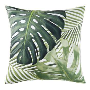MADIDI White Outdoor Cushion with Green Foliage Print (H45 x W45 x D10cm)