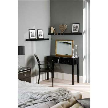 MADISON Black Glass Dressing Table with 4 Legs (80 x 102cm)