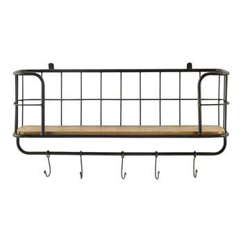 MADISON metal wall shelf in black W 77cm