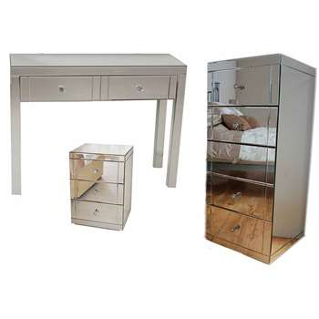MADISON Mirrored Dressing Table, 1x LUCIA Bedside & 1x JULIANNA Tallboy