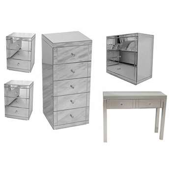 MADISON Mirrored Dressing Table, 2x LUCIA Mirrored Bedsides, 1x JULIANNA Mirrored Tallboy & 1x FLAVIA Mirrored 3dr Low Chest package