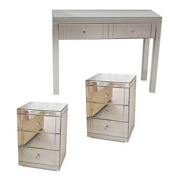 MADISON Mirrored Dressing Table & Pair of LUCIA Mirrored Bedside Tables (80 x 102cm)