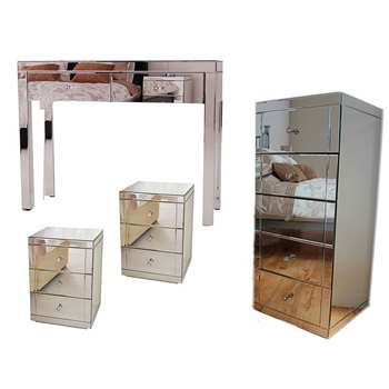 MADISON Mirrored Dressing Table, Pair of LUCIA Mirrored Bedside Tables & JULIANNA Mirrored Tallboy