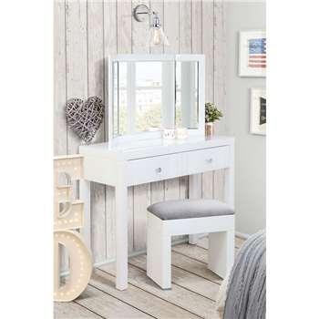 MADISON White Glass Dressing Table, White Triple Folding Mirror & White Glass Stool (H80 x W102 x D35cm)