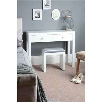 MADISON White Glass Dressing Table with 4 Legs (80 x 102cm)