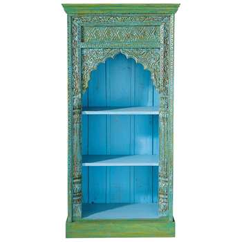 MADRAS Solid mango wood Indian bookcase in green (168 x 84cm)