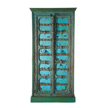 MADRAS Solid Mango Wood Indian Wardrobe in Blue With Distressed Finish (H180 x W90 x D50cm)