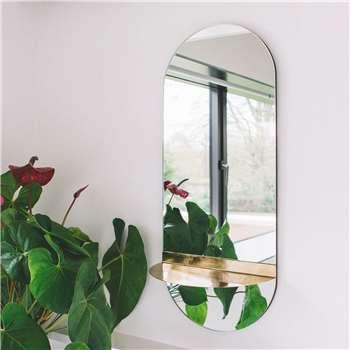 Mae Oval Mirror with Shelf (H71 x W30 x D15cm)