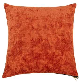 MAELY Peacock Blue and Brick Red Cushion Cover (H40 x W40cm)