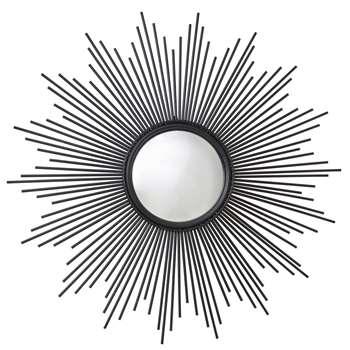 MAGELLAN - Round Black Wire Convex Mirror (H99 x W99 x D3.5cm)
