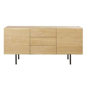 MAGNUS - Solid Oak and Black Metal 2-Door 3-Drawer Sideboard (H78 x W165 x D45cm)