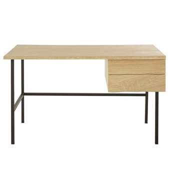MAGNUS - Solid Oak and Black Metal 2-Drawer Desk (H76 x W130 x D71cm)