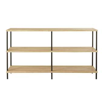 MAGNUS - Solid Oak and Black Metal Double Shelving Unit (H90 x W160 x D43cm)