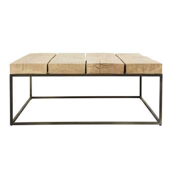 MAGNUS - Square Black Metal and Solid Oak Coffee Table (H38 x W95 x D95cm)