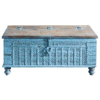 MAHARANI Solid mango wood Indian chest in blue (50 x 125cm)