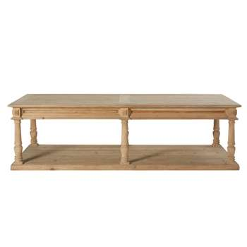 MAHAULT - Carved Dual Surface Coffee Table with 6 Legs (H45 x W160 x D70cm)