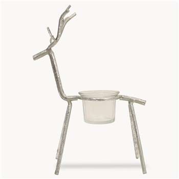 Maitland Deer Tea Light Holder in Silver Finish (H23 x W16.5 x D10cm)