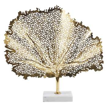 MALAGA Gold Metal and White Marble Leaf Ornament (H56.5 x W58.5 x D10cm)