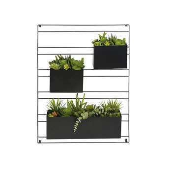 MALAGA Wall Art with 3 Artificial Potted Plants (H90 x W65 x D25cm)