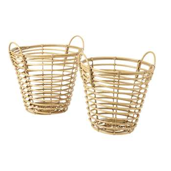 MALANG 2 Woven Baskets in Faux Wood (H48.5 x W51 x D47.5cm)