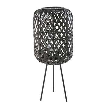 MALAWI Black Metal and Woven Bamboo Lantern (H64 x W27 x D27cm)