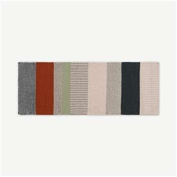 Malay Striped Wool Runner, Charcoal & Terracotta (H200 x W70 x D1cm)