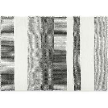 Malay Wool Stripe Rug, Large, Black & White (H160 x W230 x D2cm)
