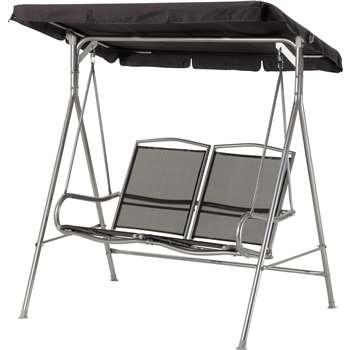 Malibu 2 Seater Garden Swing Chair - Black (162 x 153cm)