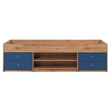 Malibu - Single Cabin Bed Frame - Blue on Pine (53 x 95cm)