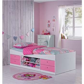 Malibu - Single Cabin Bed with Ashley Mattress - Pink on White (53 x 95cm)
