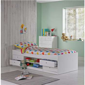 Malibu - Single Cabin Bed with Ashley Mattress - White (53 x 95cm)