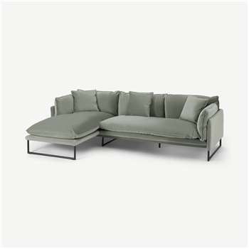 Malini Left Hand Facing Chaise End Sofa, Sage Green Velvet (H78 x W254 x D158cm)