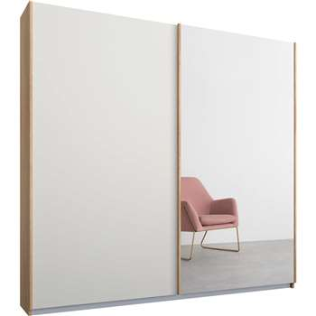 Malix 2 door 181cm Sliding Wardrobe, Oak Frame, Matt White and Mirror Doors (181 x 225cm)