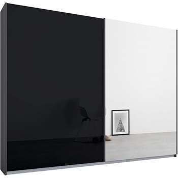 Malix 2 door 225cm Sliding Wardrobe, Graphite Grey Frame, Basalt Grey Glass and Mirror Doors (210 x 225cm)