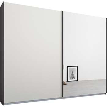 Malix 2 door 225cm Sliding Wardrobe, Graphite Grey Frame, Matt White and Mirror Doors (210 x 225cm)