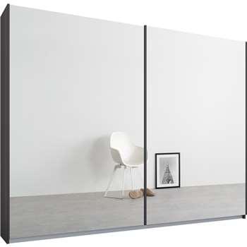 Malix 2 door 225cm Sliding Wardrobe, Graphite Grey Frame, Mirror Doors (210 x 225cm)