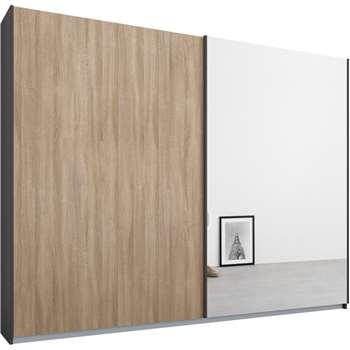 Malix 2 door 225cm Sliding Wardrobe, Graphite Grey Frame, Oak and Mirror Doors (210 x 225cm)