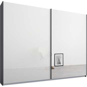 Malix 2 door 225cm Sliding Wardrobe, Graphite Grey Frame, White Glass and Mirror Doors (210 x 225cm)