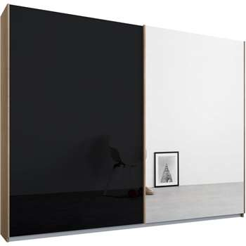 Malix 2 door 225cm Sliding Wardrobe, Oak Frame, Basalt Grey Glass and Mirror Doors (210 x 225cm)