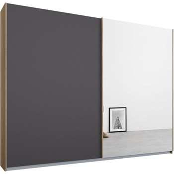 Malix 2 door 225cm Sliding Wardrobe, Oak Frame, Matt Graphite Grey and Mirror Doors (210 x 225cm)