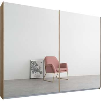 Malix 2 door 225cm Sliding Wardrobe, Oak Frame, Mirror Doors (210 x 225cm)