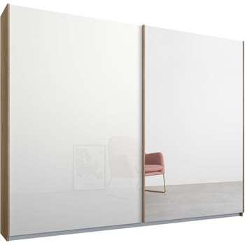 Malix 2 door 225cm Sliding Wardrobe, Oak Frame, White Glass and Mirror Doors (210 x 225cm)