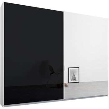 Malix 2 door 225cm Sliding Wardrobe, White Frame, Basalt Grey Glass and Mirror Doors (210 x 225cm)
