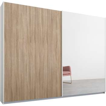 Malix 2 door 225cm Sliding Wardrobe, White Frame, Oak and Mirror Doors (210 x 225cm)