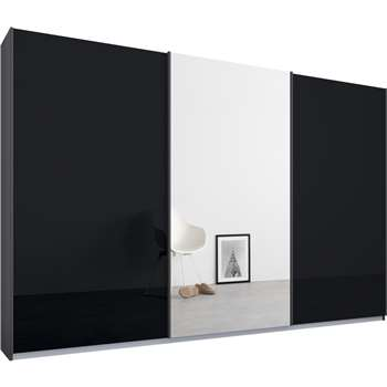 Malix 3 door 270cm Sliding Wardrobe, Graphite Grey Frame, Basalt Grey Glass and Mirror Doors (210 x 270cm)