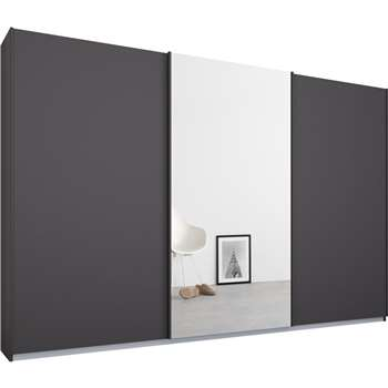 Malix 3 door 270cm Sliding Wardrobe, Graphite Grey Frame, Matt Graphite Grey and Mirror Doors (210 x 270cm)