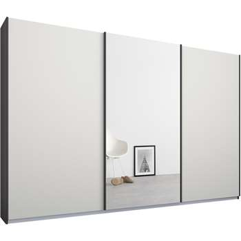 Malix 3 door 270cm Sliding Wardrobe, Graphite Grey Frame, Matt White and Mirror Doors (210 x 270cm)