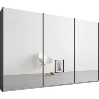 Malix 3 door 270cm Sliding Wardrobe, Graphite Grey Frame, Mirror Doors (210 x 270cm)